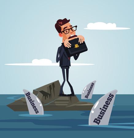 不幸なる悲しいベクトルフラット漫画のイラスト