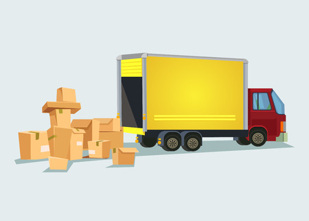 automotive industry: Delivery truck with many box. Vector flat cartoon illustration