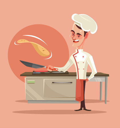 Happy smiling cook character cooking pancakes and pushes them into the air. Vector flat cartoon illustration Ilustracja