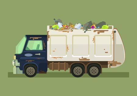 Isolated garbage truck. Vector flat cartoon illustration