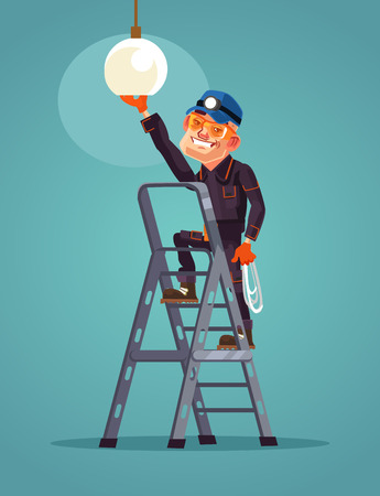Happy smiling worker. Vector flat cartoon illustration