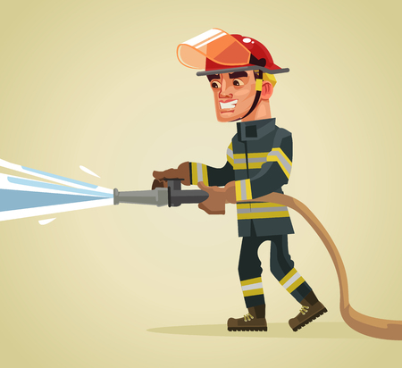 Smiling fireman character holding hose extinguishing fire with water. Vector flat cartoon illustration Illustration