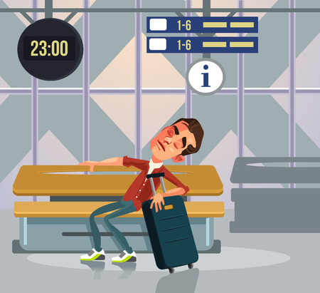 Sleepy tourist man character sleeping relaxing and waiting transport. Vector flat cartoon illustration