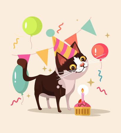 Happy smiling cat character celebrates birthday. Vector flat cartoon illustration
