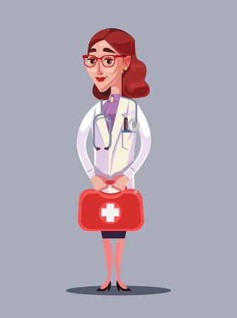 Happy smiling woman doctor character hold case. Vector flat cartoon illustration Illusztráció