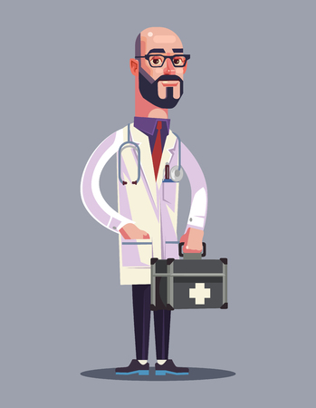 Happy smiling man doctor character hold case. Vector flat cartoon illustration