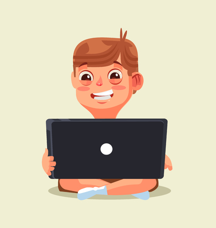 Happy little boy teen character chatting by internet in flat cartoon illustration.