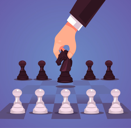 Cartoon illustration of a businessmans hand playing chess in flat style.