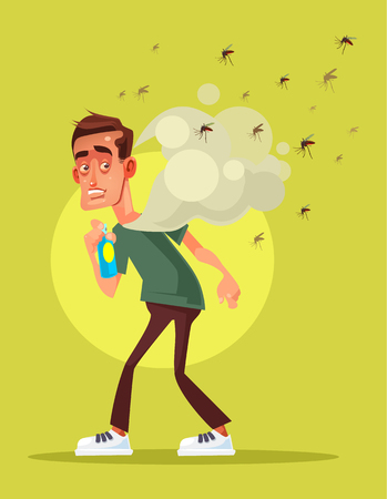 Man spraying insect repellent  in flat cartoon illustration.