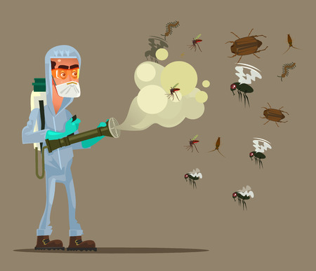 Pest control service man character spraying repellent to insects  in flat cartoon illustration.