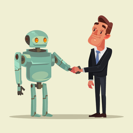 Human man and robot characters make deal and handshake in flat cartoon illustration.