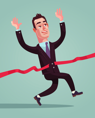 Happy man in suit, finished the line  in flat cartoon illustration. Illusztráció