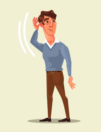 Curious man character overhears  in flat cartoon illustration.