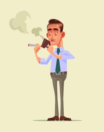 Beambtekarakter die koffiepauze hebben, die mok houden terwijl het roken van sigaret, die na het harde werkdag in vlakke beeldverhaalillustratie ontspannen. Stock Illustratie