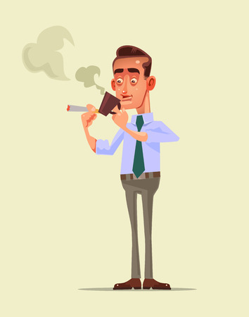 Office worker character having coffee break, holding mug while smoking cigarette, relaxing after hard work day  in flat cartoon illustration.