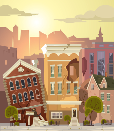 Damaged, abandoned buildings  in flat cartoon illustration. Illustration