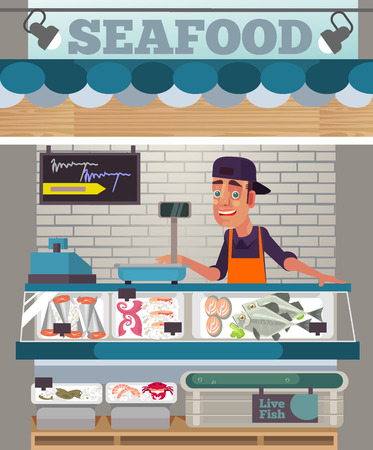 Happy sales man sells seafood in Food market  in flat cartoon illustration.
