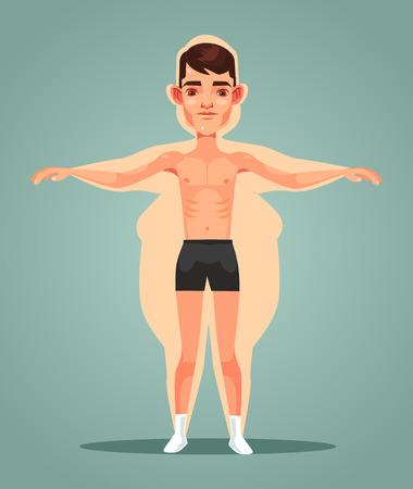 Strong slim man character locked up in a fat man body  in flat cartoon illustration. Ilustração