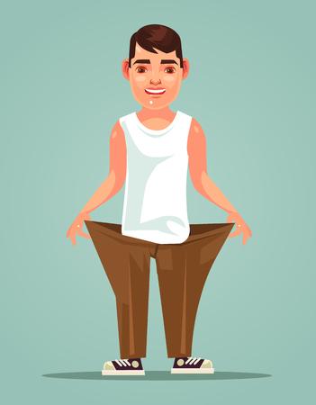 Happy slim man loose weight  in flat cartoon illustration.
