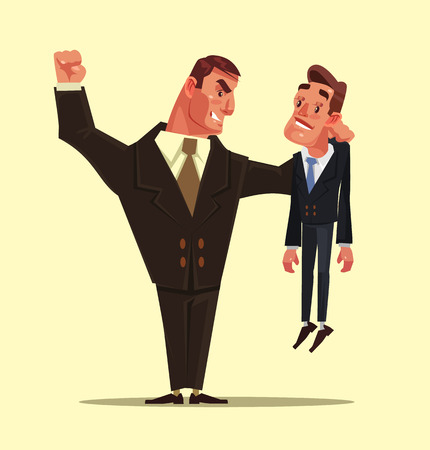 Angry bad office worker beats the weak one, Competition concept  in flat cartoon illustration.