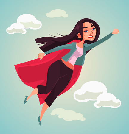 Super woman character flying  in flat cartoon illustration.