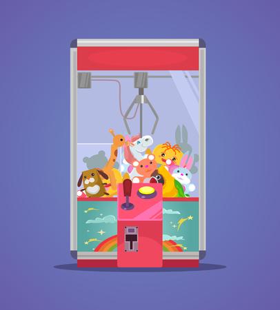 Doll claw machine  in flat cartoon illustration.