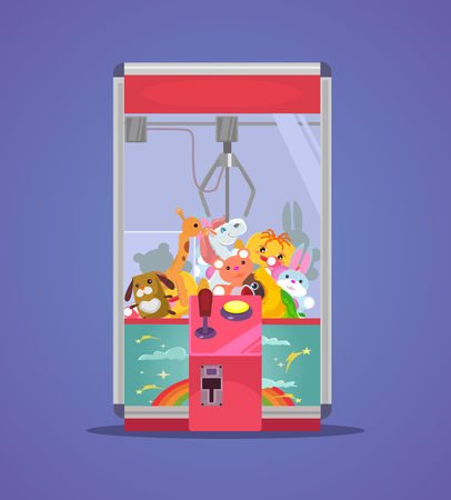 Doll claw machine  in flat cartoon illustration.