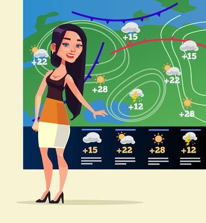 Happy woman weather reporter character  in flat cartoon illustration.