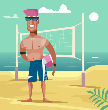Man with beach volleyball.