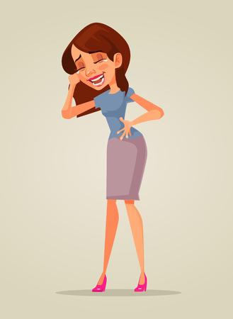 웃고있는 여자.