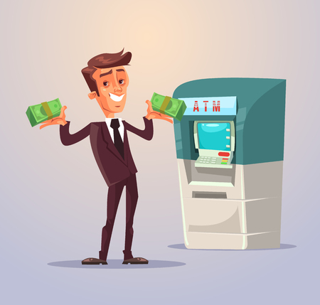 Man withdrawing money from ATM.