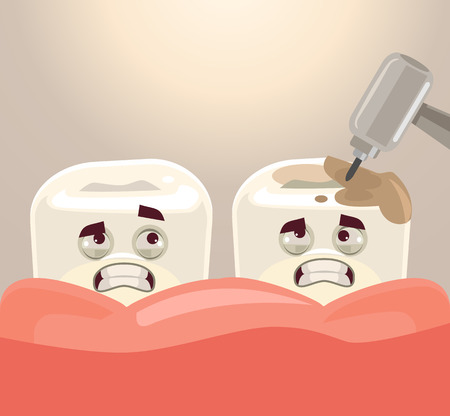 Teeth treatment with dental drill.