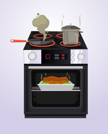 Food is cooked on the stove.