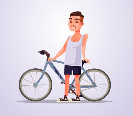 Cyclist man character.