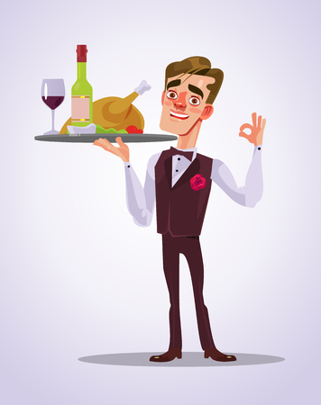 Waiter with food tray.