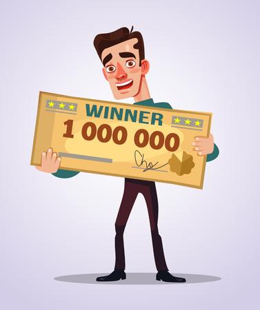 Gelukkige glimlachende winnaar.