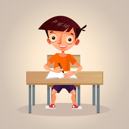 child sitting: Happy smiling little school boy studying and writing in his notebook. Illustration