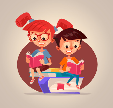 Happy smiling children. Vector flat cartoon illustration 向量圖像