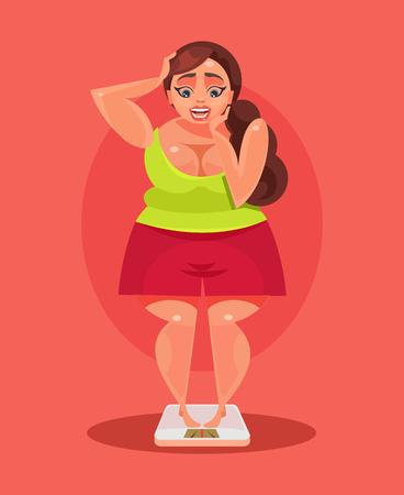 悲しい太りすぎの女性はスケールの上に立って。  イラスト・ベクター素材