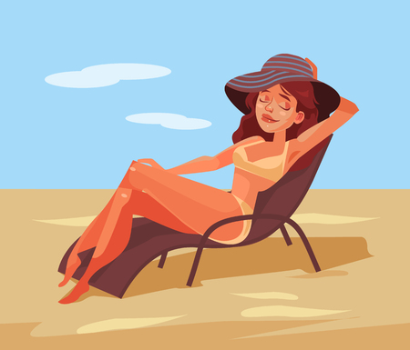Happy smiling woman lying on chair and sunbathing. Illustration