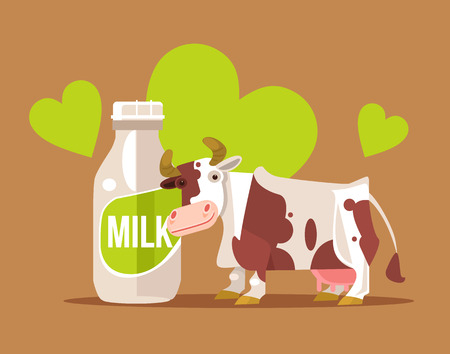 Happy smiling cow character with milk bottle.