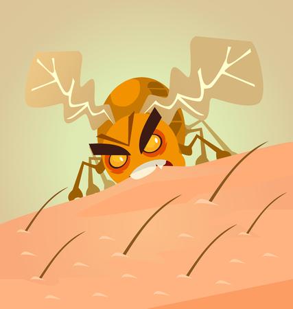 Small angry insect bug biting human skin.