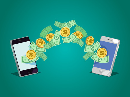 Money transferring from one smartphone to another.