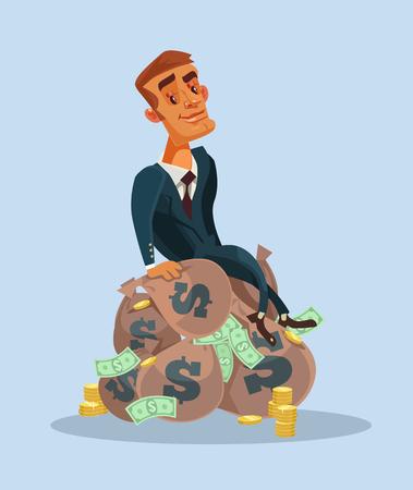 Szczęśliwy uśmiechnięty biznesmen siedzi na workach pieniędzy.