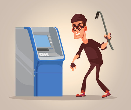 Thief man character steals money from ATM. Vector flat cartoon illustration