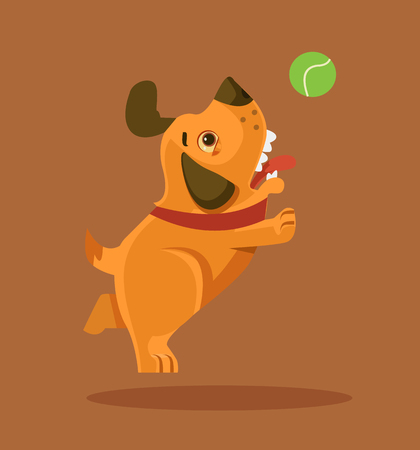 Happy smiling puppy dog ??character playing with ball. Vector flat cartoon illustration Illustration