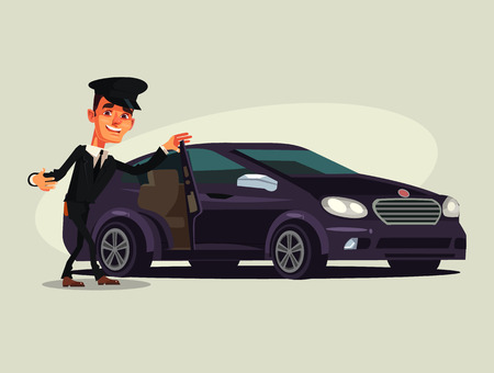 Car driver luxury car class. Vector flat cartoon illustration