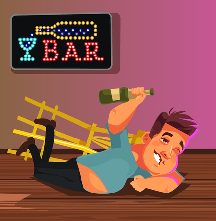 Happy smiling drunk man laying on bar floor. Funny party concept. Vector flat cartoon illustration Illustration