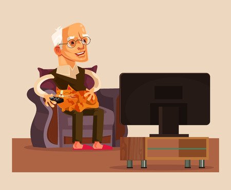Happy smiling old man. Vector flat cartoon illustration Ilustração