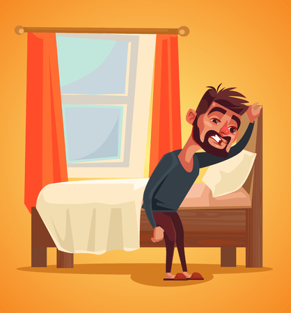 不幸な男の文字。不眠症の概念。ベクトル フラット漫画イラスト